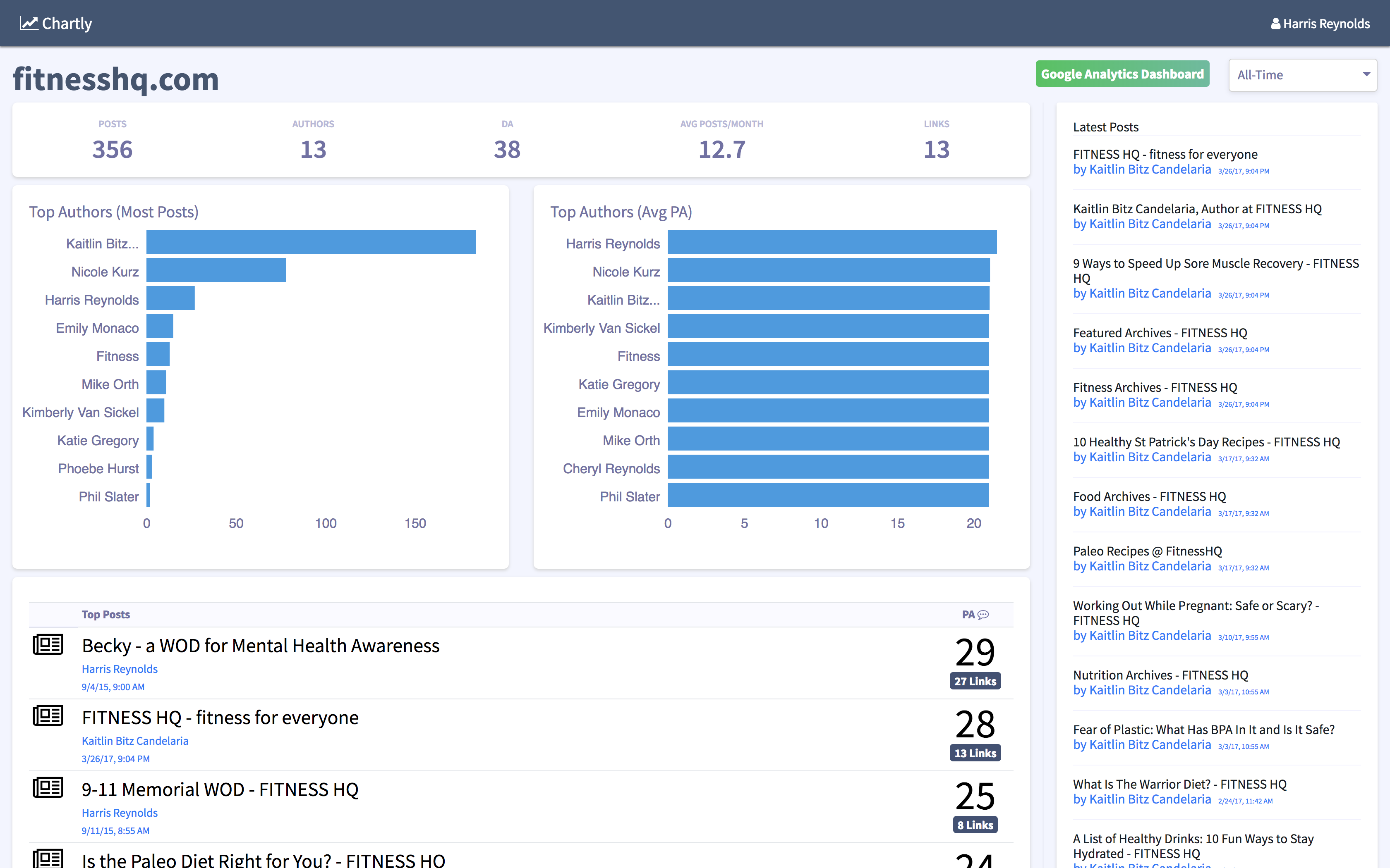 Seo dashboard screenshot